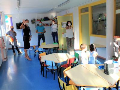 La Alcaldesa de Archena inaugura el curso escolar con total normalidad y con extremas medidas de seguridad frente a la Covid-19