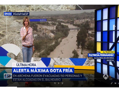 Atención de los medios de comunicación sobre los daños causados en Archena por la gota fría