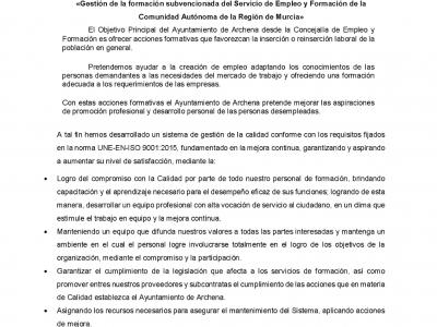 El Ayuntamiento implanta la ISO 9001 para las clases de formación